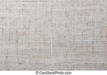 Detailed Closeup vintage old textured fabric burlap, rustic background in tan beige, brown, grey. Canvas Macro Pattern.