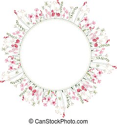 Detailed contour wreath with herbs and wild stylized flowers isolated on white.