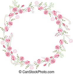Detailed contour wreath with herbs, roses and wild flowers ...
