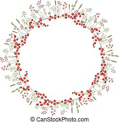 Detailed contour wreath with herbs,red,berries and wild stylized flowers isolated on white.