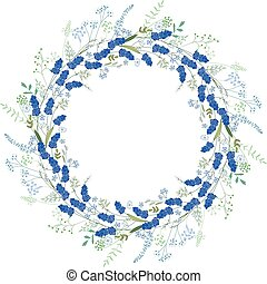 Detailed contour wreath with muscari and herbs isolated on...