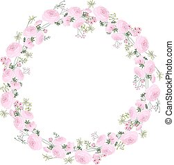 Detailed contour wreath with ranunculus, herbs and stylized flowers isolated on white.