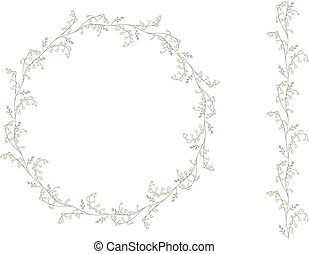 Detailed contour wreath withlilies of the valley isolated on white.