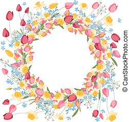 Detailed contour wreath withtulips and daffodils isolated on...