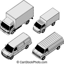 detailed delivery van isometric set - Available EPS-8 vector...