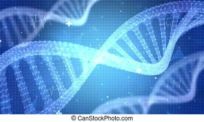 Detailed digital interface of futuristic DNA analysis process Motion graphic loop Background.