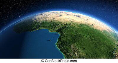 Detailed Earth. Africa. Countries of the Gulf of Guinea