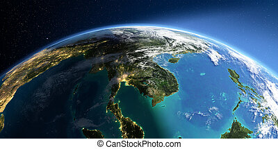 Detailed Earth. Asia. Indochina peninsula - Highly detailed ...