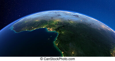 Detailed Earth at night. Africa. Countries of the Gulf of Guinea
