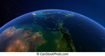 Detailed Earth at night. Southeast Asia. Indonesia - Planet ...