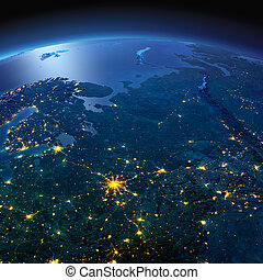Detailed Earth. European part of Russia on a moonlit night