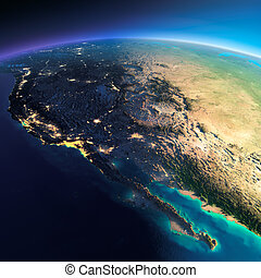 Detailed Earth. Gulf of California, Mexico and the western U...