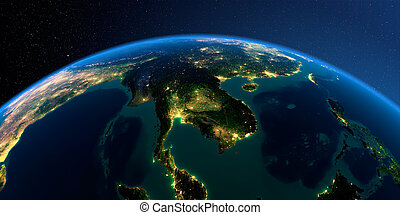 Detailed Earth. Indochina peninsula on a moonlit night