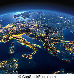 Detailed Earth. Italy, Greece and the Mediterranean Sea on a...