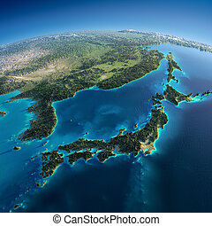 Highly detailed planet Earth in the morning. Exaggerated precise relief lit morning sun. Part of Asia, the Japanese sea. Elements of this image furnished by NASA