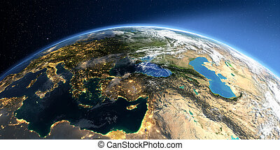 Detailed Earth. Middle East countries