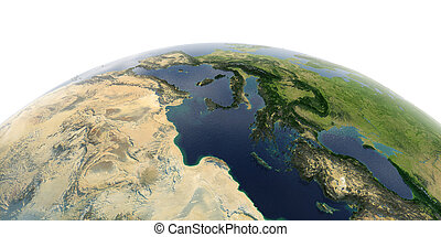Detailed Earth on white background. Africa and Europe. Africa and Europe. The waters of the Mediterranean Sea