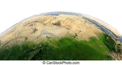 Detailed Earth on white background. Africa and Europe. The waters of the Mediterranean Sea