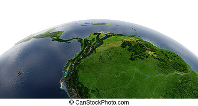 Detailed Earth on white background. Africa and Europe. The western part of South America. Peru, Ecuador, Colombia, Venezuela and part of Brazil