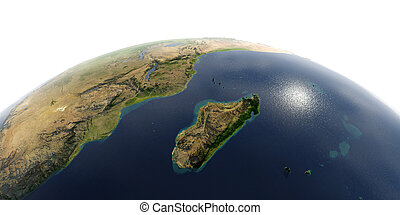 Detailed Earth on white background. Africa and Madagascar