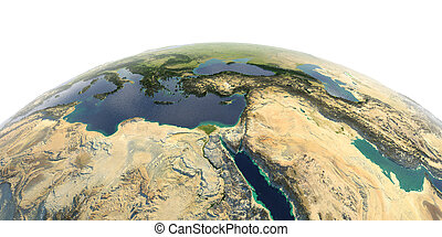 Detailed Earth on white background. Africa and Middle East