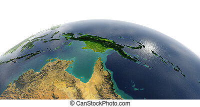 Detailed Earth on white background. Australia and Papua New Guinea