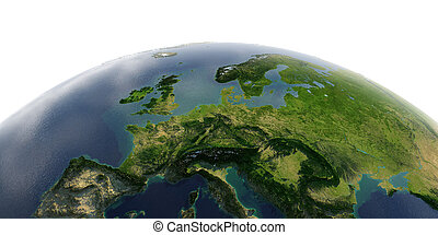 Detailed Earth on white background. Central Europe