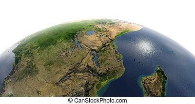 Detailed Earth on white background. East Africa. Mozambique, Tanzania, Kenya, Madagascar