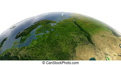 Detailed Earth on white background. European part of Russia