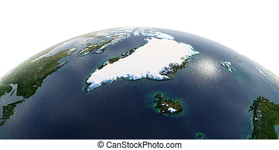 Detailed Earth on white background. Greenland and Iceland