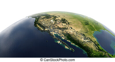 Detailed Earth on white background. Gulf of California, Mexico and the western U.S. states
