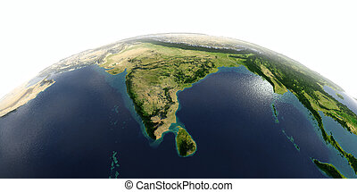 Detailed Earth on white background. India and Sri Lanka