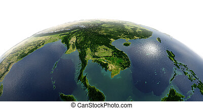Detailed Earth on white background. Indochina peninsula