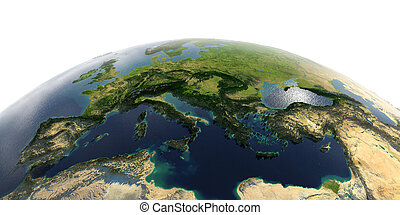 Detailed Earth on white background.. Italy, Greece and the Mediterranean Sea