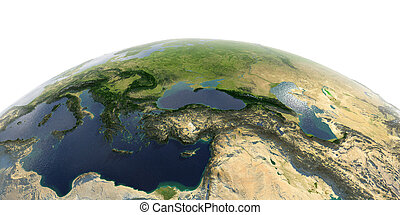 Detailed Earth on white background. Middle East countries