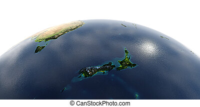 Detailed Earth on white background.. New Zealand
