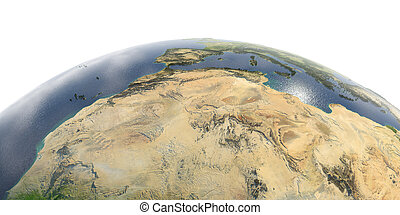 Detailed Earth on white background. North Africa. Algeria, Morocco and Tunisia