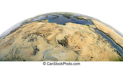 Detailed Earth on white background. North Africa. Libya and the Mediterranean Sea