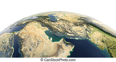 Detailed Earth on white background. Persian Gulf