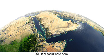 Detailed Earth on white background. Saudi Arabia