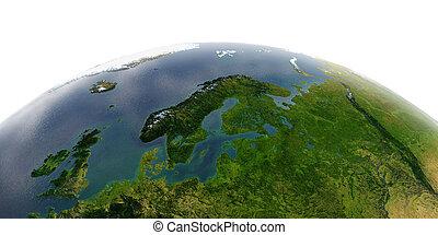 Detailed Earth on white background. Saudi Arabia