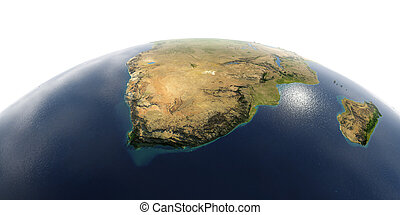 Detailed Earth on white background. South Africa