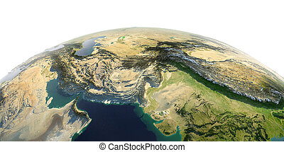 Detailed Earth on white background. South Asia. Pakistan, Afghanistan, India