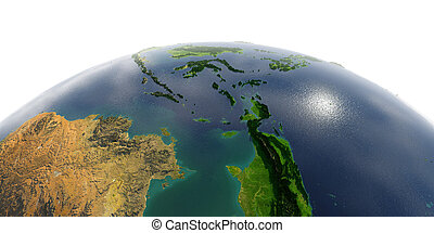 Detailed Earth on white background. Southeast Asia. Indonesia
