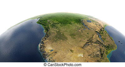 Detailed Earth on white background. Southern Africa Angola and Congo