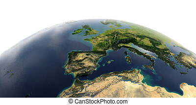 Detailed Earth on white background. Spain and the Mediterranean Sea