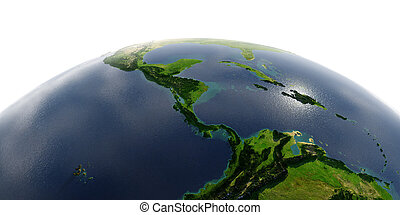 Detailed Earth on white background. The countries of Central America