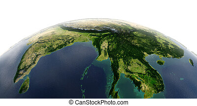 Detailed Earth on white background. The eastern part of India, Bangladesh, Nepal, Bhutan, Myanmar, west of Thailand