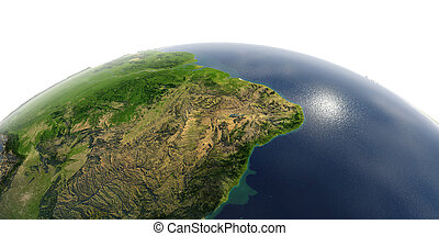 Detailed Earth on white background. The eastern part of South America. Brazil