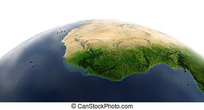 Detailed Earth on white background. West African countries